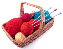 Rectangular basket with knitting kit Royalty Free Stock Photos