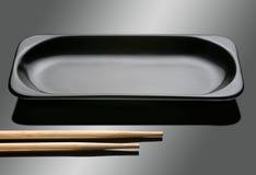 Rectangular black dish Royalty Free Stock Image