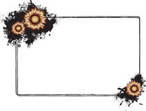 Rectangular Black Grunge Frame with Flowers Vector Stock Photo