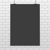 Rectangular black paper mockup. Dark A4 paper mock up in realistic style. Black blank sheet of Paper on the white brick wall background. Modern template of stock illustration