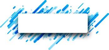 Rectangular blue abstract banner on white. Stock Photos