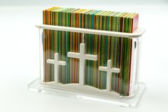 Rectangular box with cards for prayers stock image