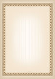 Rectangular brown frame, geometric pattern. Decorative background. Template with A4 page proportions Stock Photography