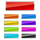 Rectangular buttons. Colorful rectangular buttons with chrome frame Royalty Free Stock Photos