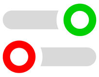 Rectangular buttons, switches set at different states. Slider, a Stock Photography