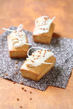 Rectangular Cakes with White Chocolate Cream Cheese Frosting Royalty Free Stock Images