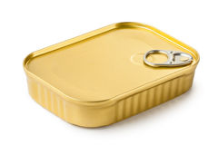 Rectangular can with key. Standing on a white Stock Photography