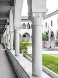 Rectangular cloister with Gothic arches and  columns. Royalty Free Stock Photography