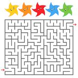 Rectangular color labyrinth with cute stars. An interesting game for children and teenagers. Simple flat vector illustration isola. Ted on white background Stock Images