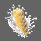 Rectangular crispy wafers with cream filling. vector illustration