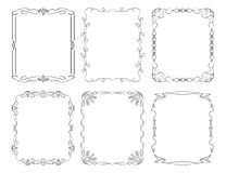6 rectangular decorative frames.Vector illustration Stock Photos