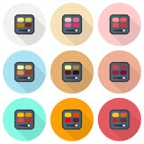 Rectangular eyeshadow palettes vector flat icon set. Rectangular palettes with brushes on bright multicolor backdrops Stock Photography