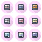 Rectangular eyeshadow palettes vector flat icon set. Rectangular palettes with brushes on pink multicolor backdrops Royalty Free Stock Images