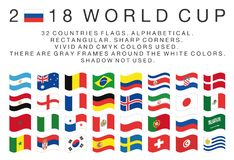 Rectangular flags of 2018 World Cup countries. Flags of 2018 World Cup national teams. 32 countries. Rectangular. Sharp corners. Vivid and cmyk colors. There are Stock Photo