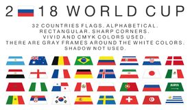 Rectangular flags of 2018 World Cup countries Stock Photo