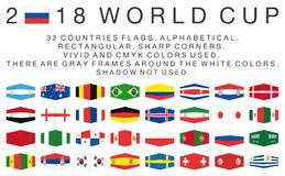 Rectangular flags of 2018 World Cup countries Royalty Free Stock Photography