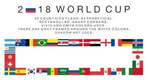 Rectangular flags of 2018 World Cup countries. Flags of 2018 World Cup national teams. 32 countries. Rectangular. Sharp corners. Vivid and cmyk colors. There are Royalty Free Stock Image