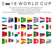 Rectangular flags of 2018 World Cup countries Royalty Free Stock Photos