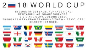 Rectangular flags of 2018 World Cup countries Stock Photography