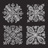 Rectangular floral folk ornament. Vector illustration Stock Images