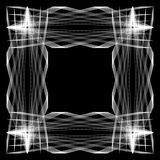 The rectangular frame. This is an abstraction. This is a rectangular frame. It is black and white. It consists of interlacing white lines Stock Photo