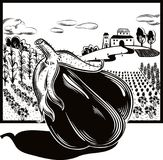Rectangular frame with agricultural landscape and eggplant. Rectangular frame with agricultural landscape and eggplant in foreground vector illustration