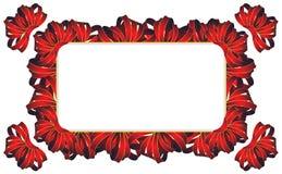 Rectangular frame with  bows Stock Photos