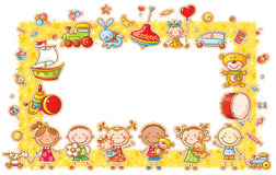 Rectangular Frame with Cartoon Kids Stock Photos