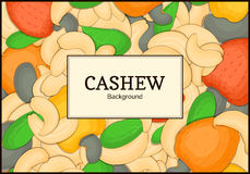 The rectangular frame on cashew nut background. Vector card illustration.  Royalty Free Stock Images