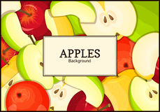 The rectangular frame on color apples background. Vector card illustration.  Royalty Free Stock Image