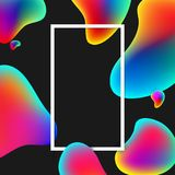 Rectangular frame with colour bubbles on black. White rectangular frame with abstract rainbow bubbles on black background. Vector illustration Royalty Free Stock Photos