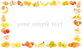 Rectangular frame from different yellow and orange fruits and vegetables Stock Photo