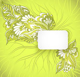 Rectangular frame with doodle flowers in green Royalty Free Stock Photo