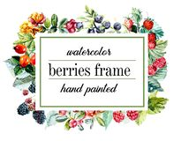 Frame from berries. Watercolor hand drawn illustration vector illustration