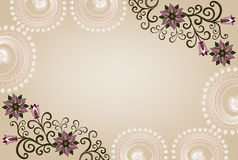Rectangular frame with lace and floral pattern Stock Photo