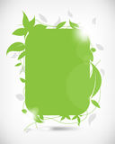 Rectangular frame with leaves elements background Royalty Free Stock Photo