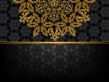 Rectangular frame with  pattern and a golden flowe Stock Images