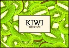 The rectangular frame on ripe kiwi fruit background. Vector card illustration.. Delicious fresh juicy kiwi fruit peeled, piece of half slice seed. appetizing Stock Photo