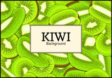 The rectangular frame on ripe kiwi fruit background. Vector card illustration.  Stock Photo