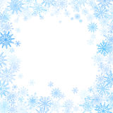 Rectangular frame with small blue snowflakes Royalty Free Stock Images