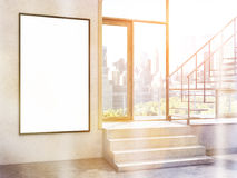 Rectangular frame toning. Rectangular picture frame in room with stairs and city view. Toned image. Mock up, 3D Rendering Royalty Free Stock Photos