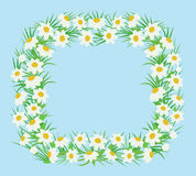 Rectangular frame of white flowers in a flat style Stock Photo