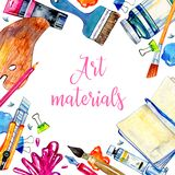 Rectangular Frame With Artist Materials - Palette, Pens, Brushes, Notepad And Tubes. Hand Drawn Sketch Watercolor Illustration Royalty Free Stock Images