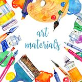 Rectangular Frame With Artist Materials - Palette, Pens, Palette Knife, Brushes And Tubes Stock Photo