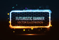 Rectangular futuristic banner. Isolated on black Royalty Free Stock Images
