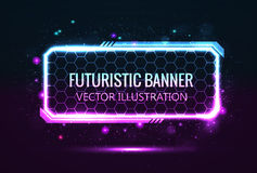 Rectangular futuristic banner. Pink and blue Stock Photo