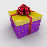 Rectangular gift box. Tied with a bow on a white background; 3d illustration Stock Photos