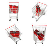 Rectangular gift box with 3D shopping cart icon. 3D Icon Design Royalty Free Stock Photos