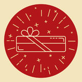 Rectangular gift box icon in thin line style Royalty Free Stock Images