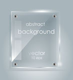 Rectangular glass plate with a place for inscriptions. Abstract vector background with a glass panel with copy space. The rectangular glass plate with a place Royalty Free Stock Photography